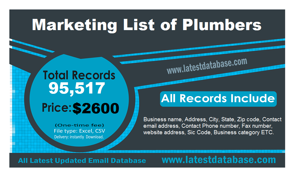 Marketing List of Plumbers